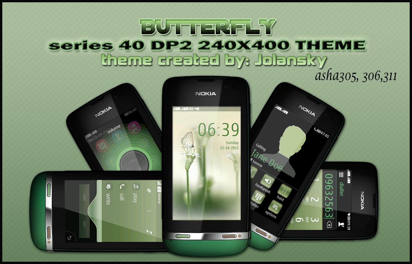 Nokia Asha 311 Blue Butterfly for nokia asha 305,