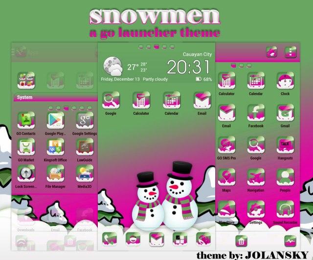 Snow Men Go Launcher Theme